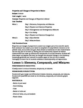 Properties and Changes of Properties in Matter: COMPLETE L