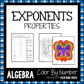 Properties of Exponents ALGEBRA Color By Number
