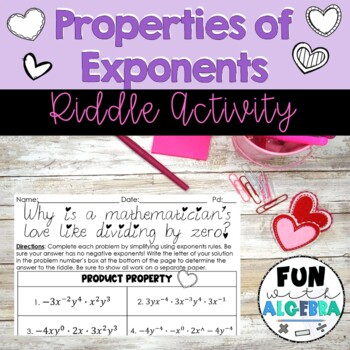 Properties of Exponents Joke Activity