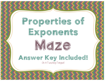 Properties of Exponents Maze with Answer Key