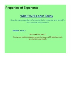 Properties of Exponents SmartBoard Lesson