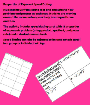 Properties of Exponents Speed Dating Activity