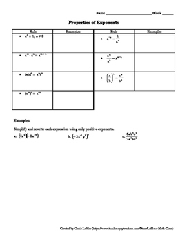 Properties of Exponents Worksheet with Puzzle