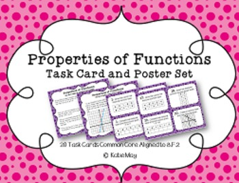 Properties of Functions Task Card and Poster Set *Aligned