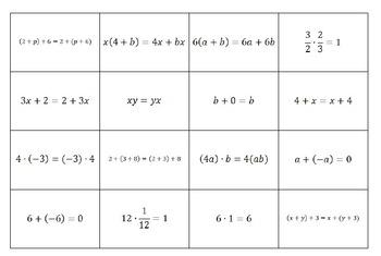 Properties of Mathematics Flash Cards / Activity Cards