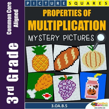 Multiplication Properties Mystery Pictures Worksheets