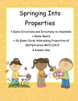 Properties of Multiplication Game MCC3.OA.5