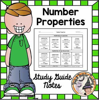 Properties of Numbers Identity Associative Commutative Dis