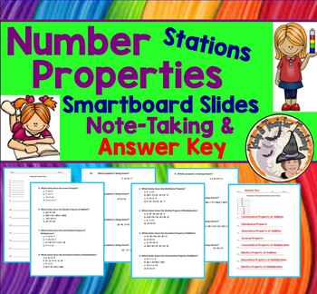 Properties of Operations Smartboard Lesson with Note Takin