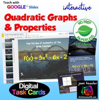 Properties of Quadratics Digital Task Cards with GOOGLE Slides