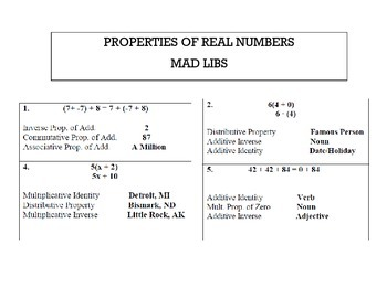 Properties of Real Numbers Mad Libs