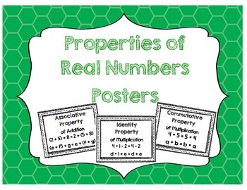 Properties of Real Numbers Posters
