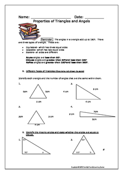 Properties of Triangles and Angels