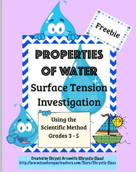 Properties of Water:  Surface Tension Investigation Freebi