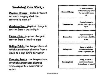Properties of Water Vocab Pack