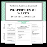 Properties of Waves: Worksheet, Review sheet or Quiz (with