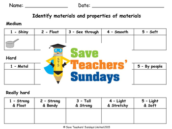 Properties of materials (online activities) Lesson plan an