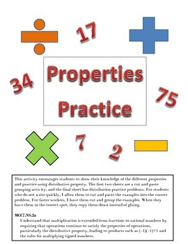 Property Grouping and Distributive Property Practice