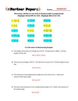 Proportional Parts & Missing Lengths Partner Paper