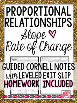 Proportional Relationships - Slope Cornell Notes or Remedi
