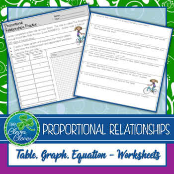 Proportional Relationships Worksheet - 7.RP.2