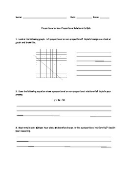 Proportional and Non-proportional Relationships Quiz