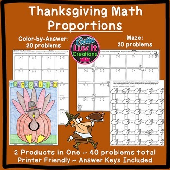Thanksgiving Math: Proportions Bundle Maze & Color by Numb