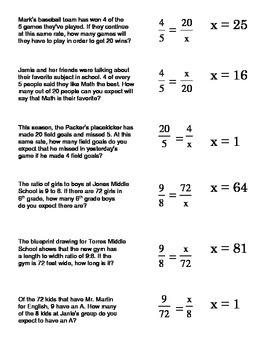 Proportions Word Problems Card Sort #1 (setting up and sol