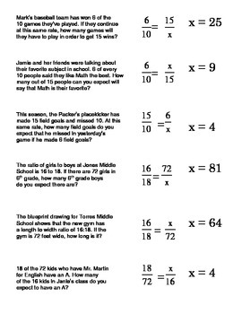 Proportions Word Problems Card Sort #2 (setting up and sol