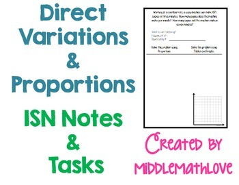 Proportions and Direct Variations ISN Notes and Task Cards