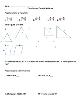 Proportions and Percents Review Test- Pre-algebra