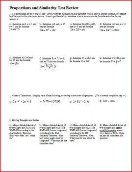 Proportions and Similarity Test Review