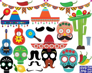 Props Fiesta Mexico Bunting Cutting SVG Clip art back part