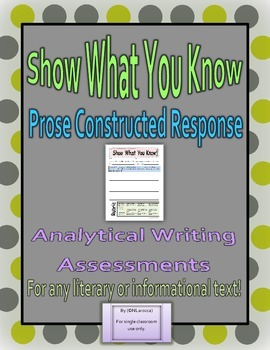 Prose Constructed Response - Writing Prompts and Rubric fo
