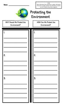Protecting the Environment Graphic Organizer