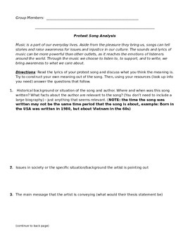 Protest Song Analysis Activity