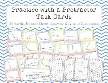 Protractor Practice Task Cards - Measuring Angles