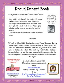 Proud Parent Book (Great Way to Get to Know Your Students
