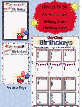 Proud to Be an American Birthday Chart and Certificates