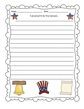 Proud to be Free July 4th Writing Piece FREEBIE OF THE WEEK!