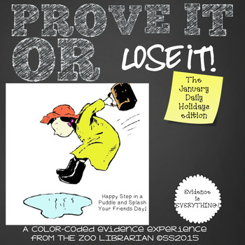 Prove It Or Lose It! (January Daily Holidays) finding text