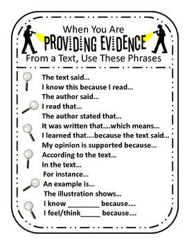 Providing Evidence from a Text