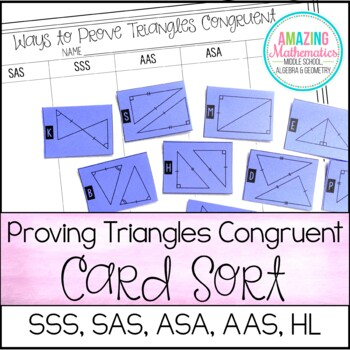 Proving Triangles Congruent Card Sort