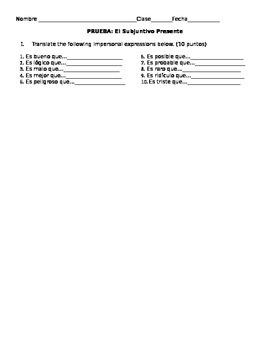 Prueba: El Subjunctivo-Verbos con Cambios Radicales y Expr