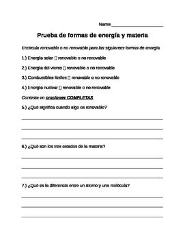 Prueba de la energía y la materia- Energy and Matter Quiz