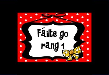 Póstaeir fáilte - gach rang - dearg (Welcome posters in Ir