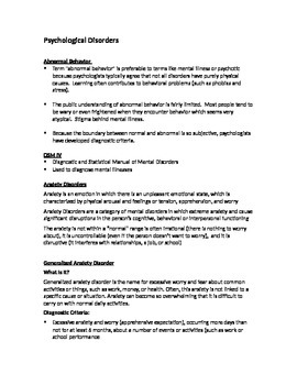 Psychological Disorders Quick Review (Study Aid/Handout)