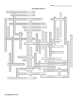 Psychological Research Vocabulary Crossword