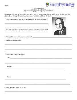 Psychology Computer/Internet Assignment Albert Bandura Questions