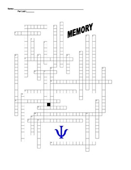Psychology Crossword Puzzle on Memory Terms